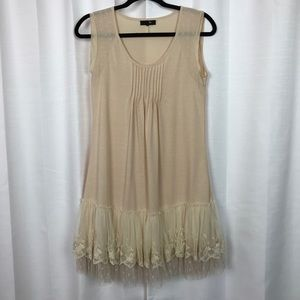 RYU Beige Lace Ruffled Hem Tank Dress Sz.M